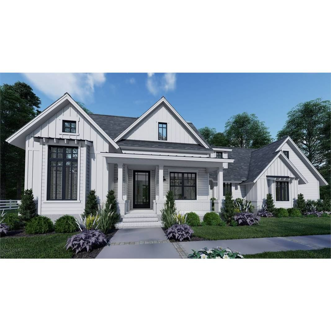 The House Designers THD 7377 Builder Ready Blueprints to Build a Country Cottage House Plan with Slab Foundation 5 Printed Sets