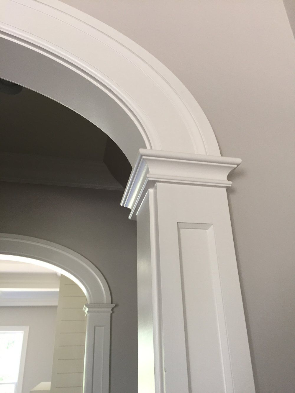 Farmhouse Style Arched Opening Frame And Flat Panel Column Detail 5 Wide Casing Detail Arched Interior Doors Moldings And Trim Archway Molding