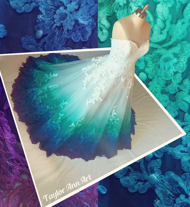 You Need To Take A Look At This Beautiful Dip Dye Wedding Dresses Dye Wedding Dress Peacock Color Dress Dip Dye Wedding Dress