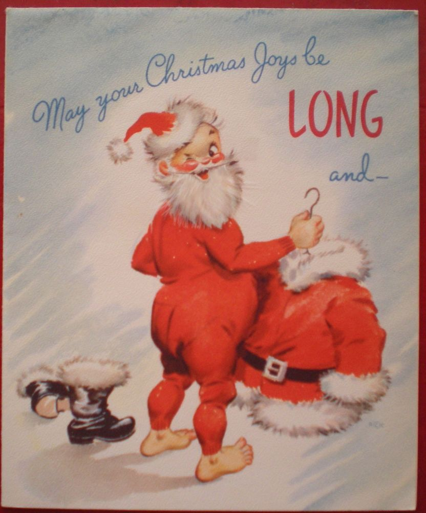 Vintage 1948 Rust Craft Christmas Card Unused Comic Santa Claus Long Johns