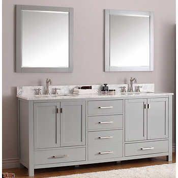 Langley – Meuble lavabo double de 73 po  ptoir en marbre