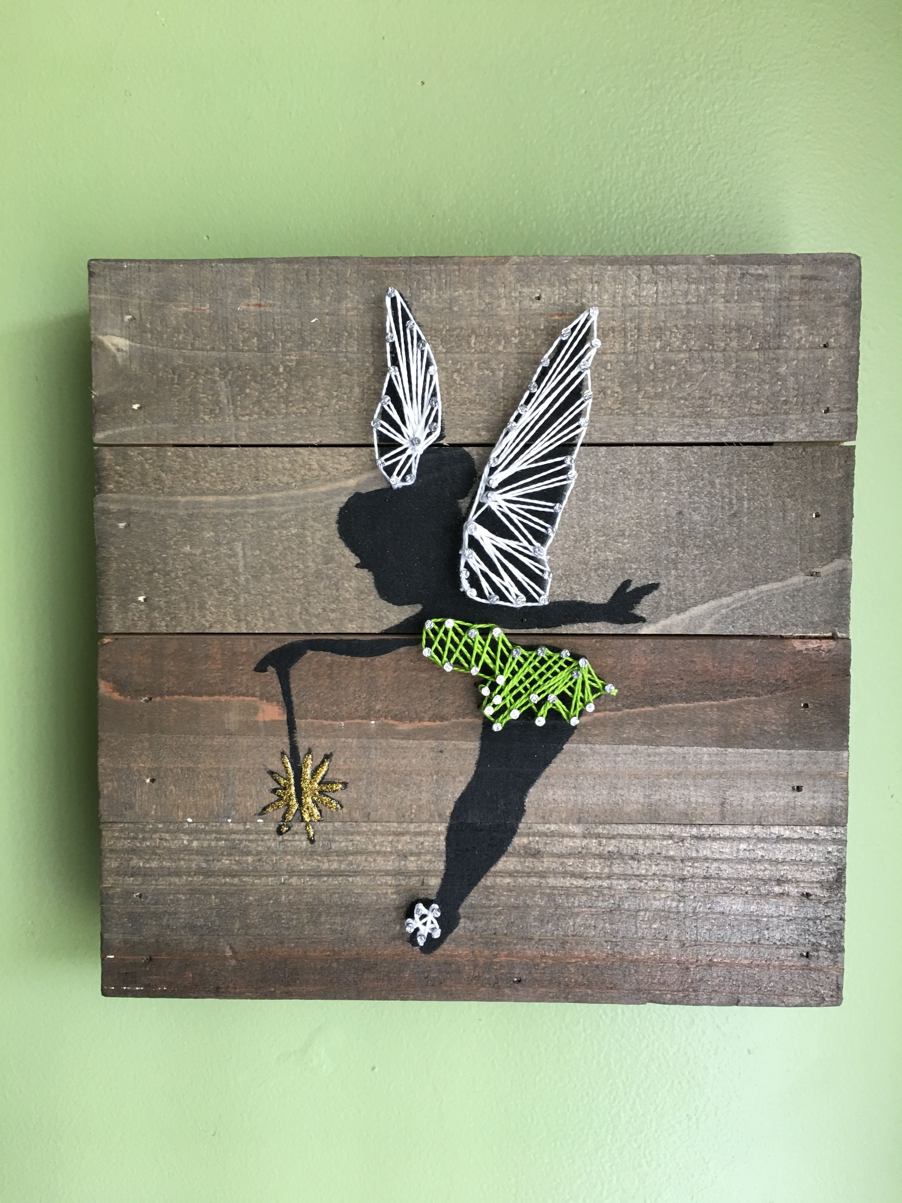 Tinkerbell silhouette with string art on stained wood. - Projecten ...