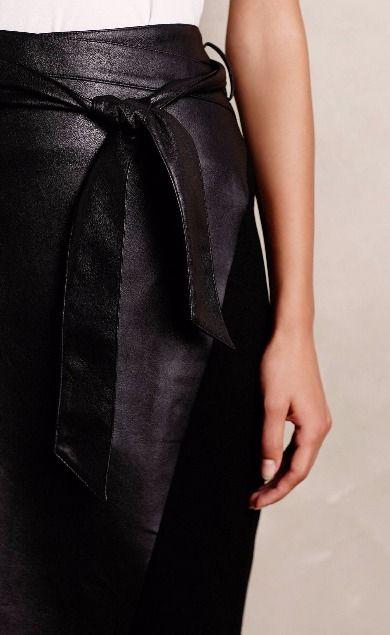 Vegan Leather Wrap Skirt