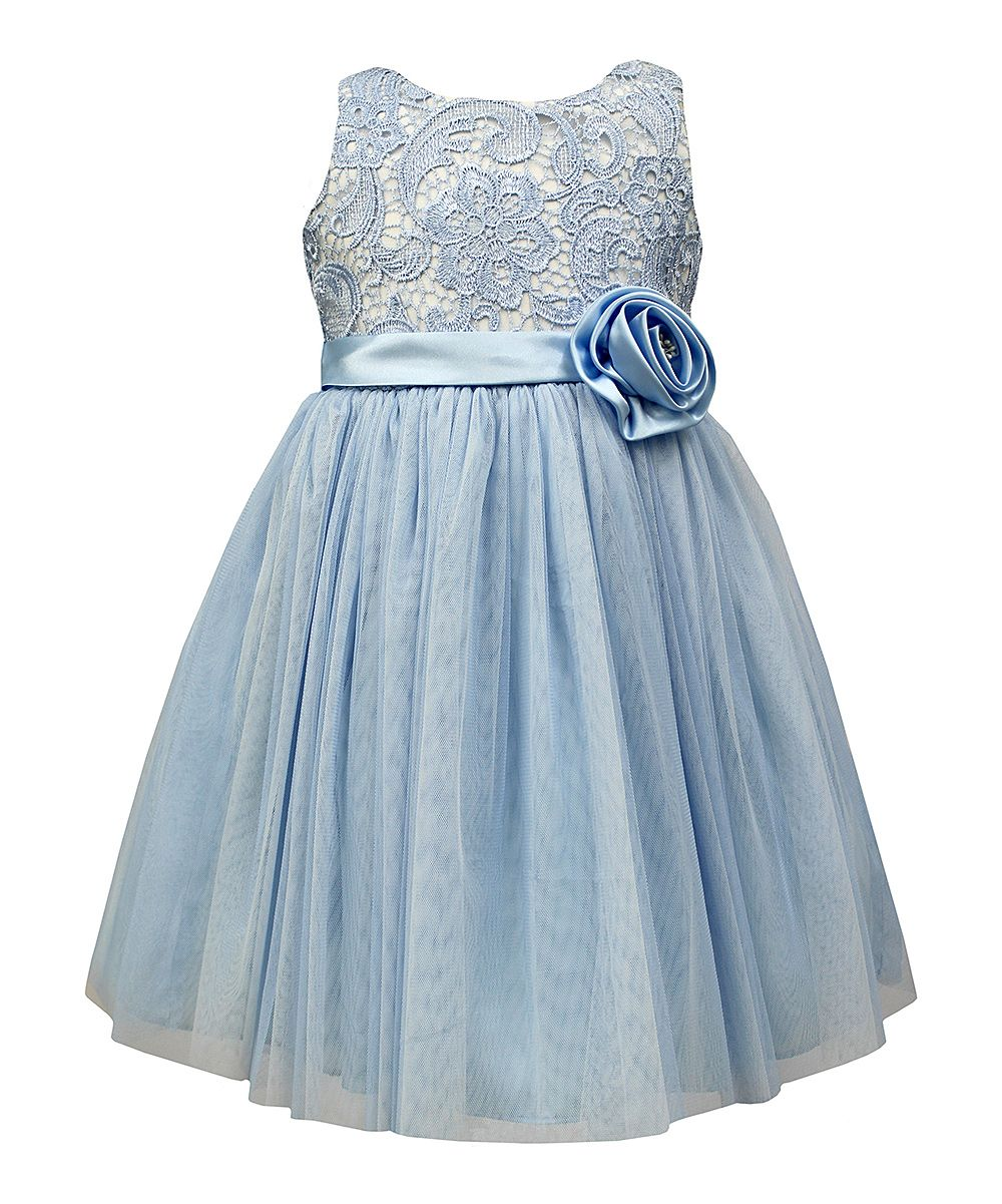Blue Lace & Tulle Rosette Fit & Flare Dress - Toddler & Girls ...