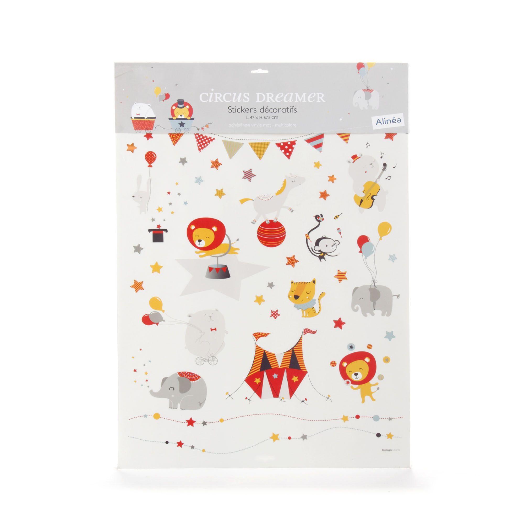 Lot De Stickers Decoratifs Enfant Multicolore Circus Dreamer