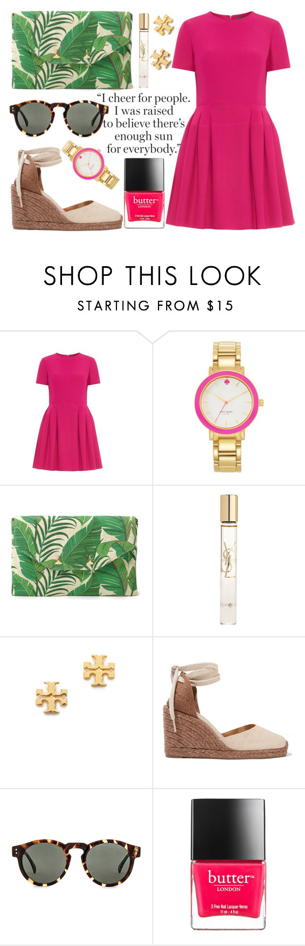 """""""Thank You For 500"""" by poshandy ❤ liked on Polyvore featuring Alexander McQueen, Kate Spade, Stella & Dot, Yves Saint Laurent, Tory Burch, Castañer, Komono, Butter London, Summer and preppy"""