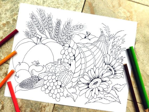 Cornucopia Coloring Pages Thanksgiving By Colorblinddragon On Etsy