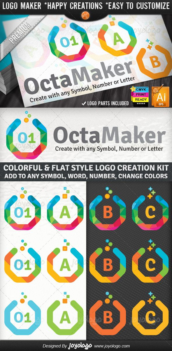 Colorful Geometric Flat Symbol Number Letter Octagon Logo Builder