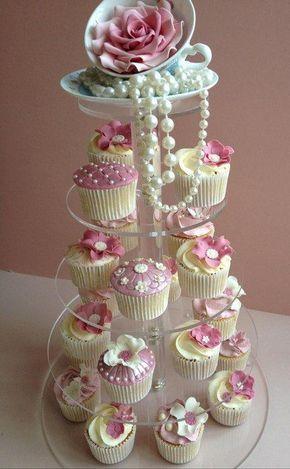 Ladies Tea Party Centrepiece Vanilla And Lemon Cupcakes On A