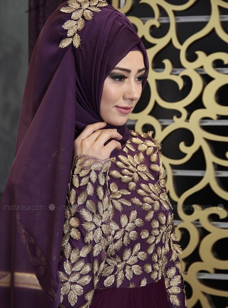 f6d2b645519d7 Üç Boyutlu Dantelli Abiye Elbise - Mor - İz Otantik | Elbiseler