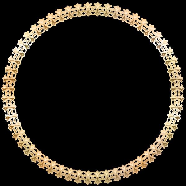 Round Border Frame Gold Transparent PNG Image
