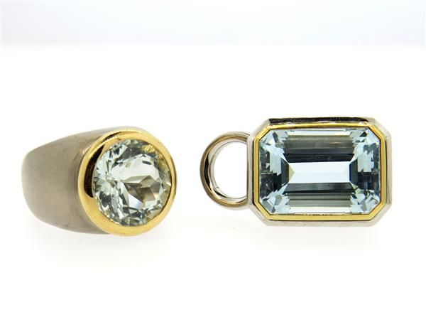 18K Gold Aquamarine Pendant Dome Ring Set Featured in our upcoming auction on June 14, 2016!