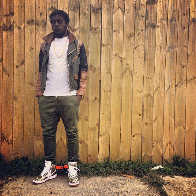 Trinidad James wearing Nike Air Force 1 High Gold