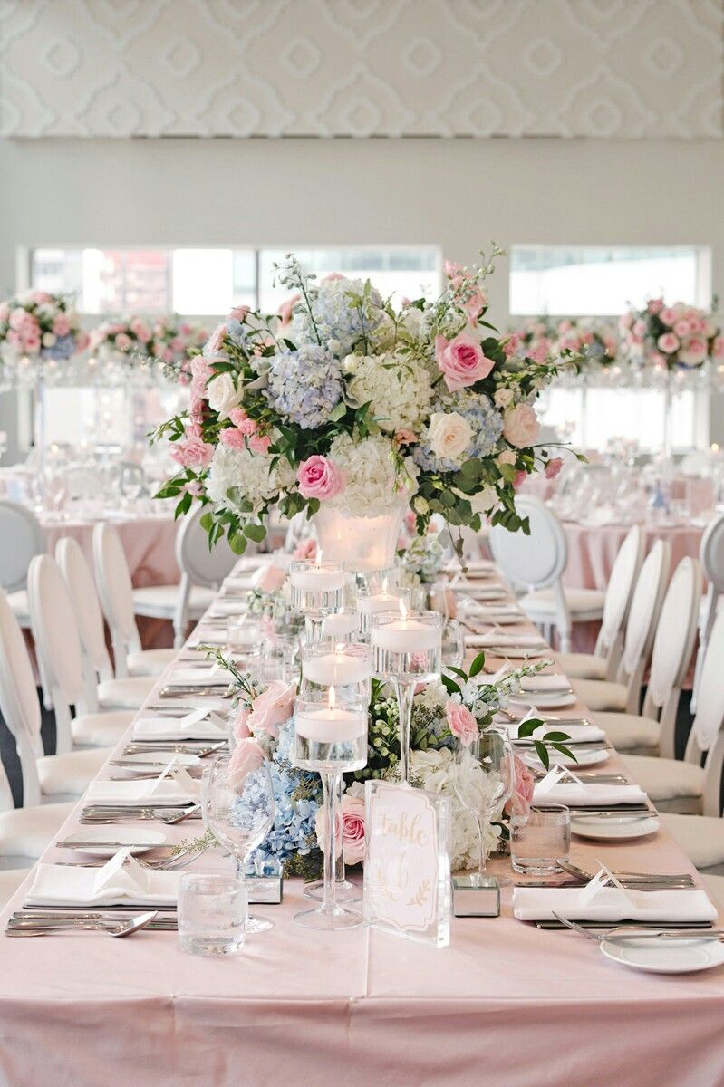 Dusty Blue And Pink Table Wedding Decoration Wedding Tables In