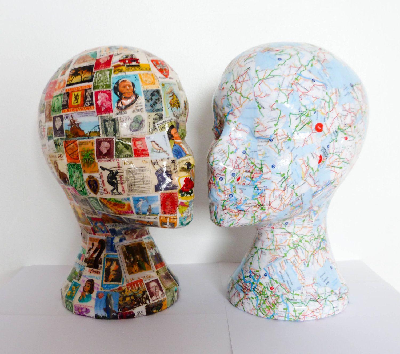 British Atlas Decoupaged Mannequin Head Wig Hat Display Hat Display Foam Head Art Cardboard Sculpture