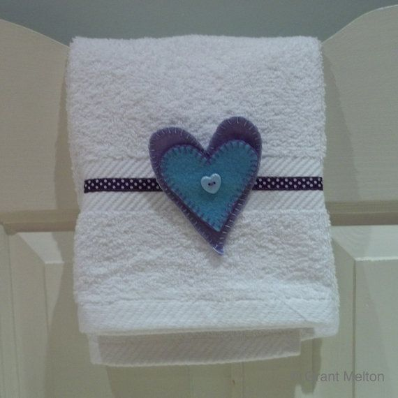 White embellished hand towel by TakeTwoUK on Etsy, £5.20