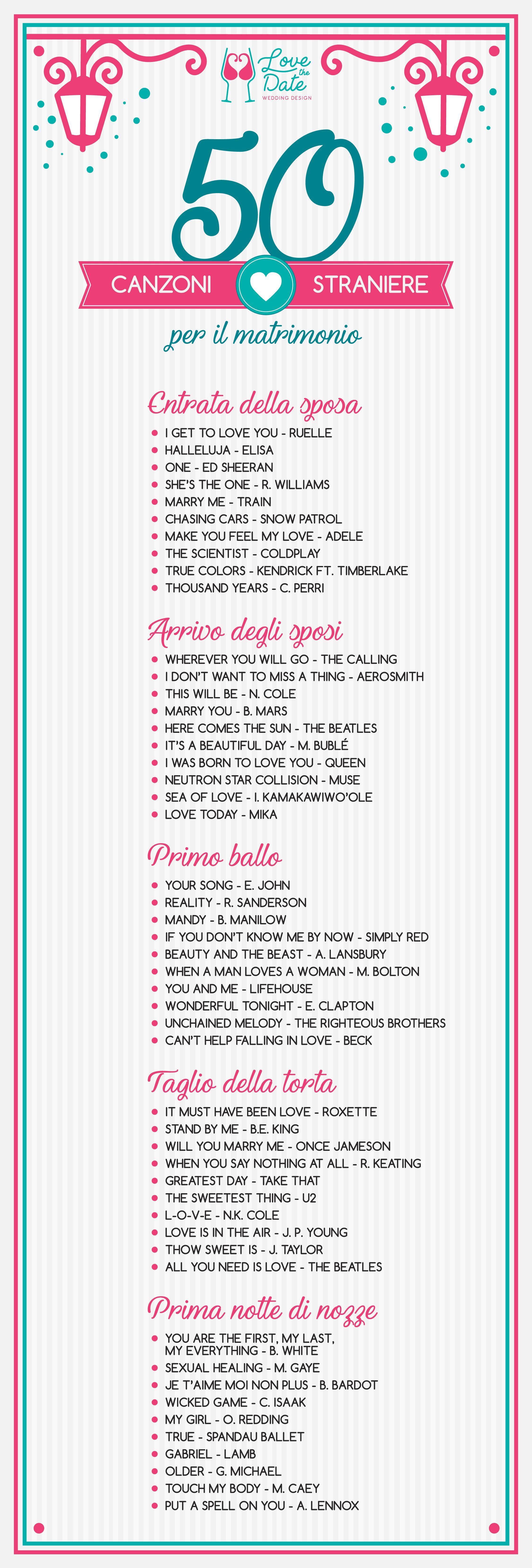 Lista Di 50 Canzoni D Amore Straniere Per Il Matrimonio Entrata Della Sposa Arrivo Degli Canzoni Per Matrimoni Intrattenimento Matrimonio Canzoni Matrimonio