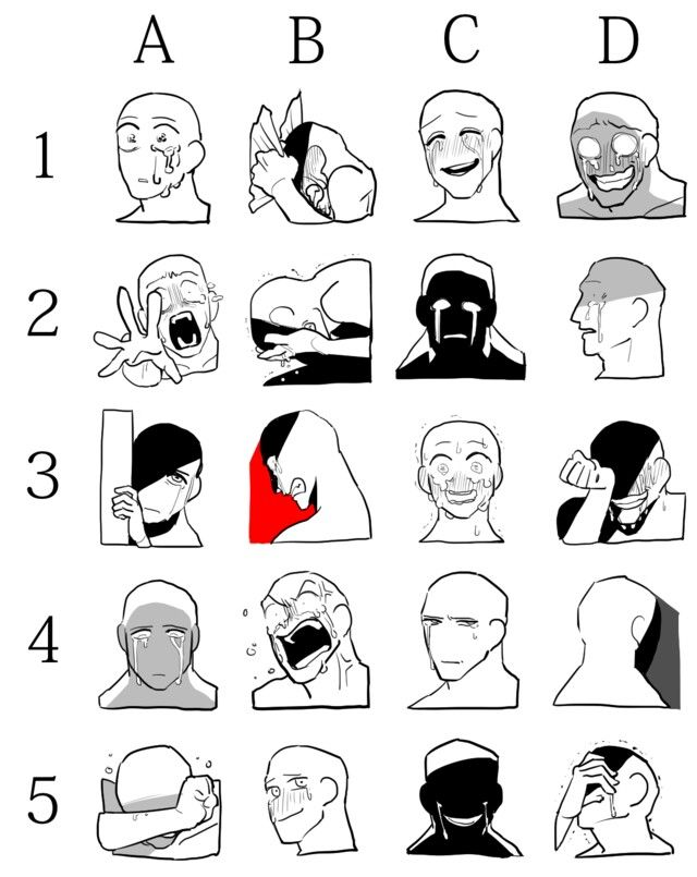 Expressions for bad guy characters and others