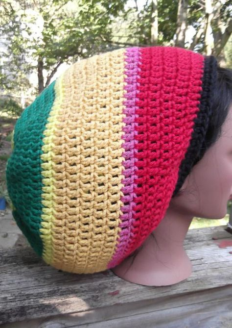 How to Crochet a tam aka rasta hat aka rasta slouch hat with a tight ...