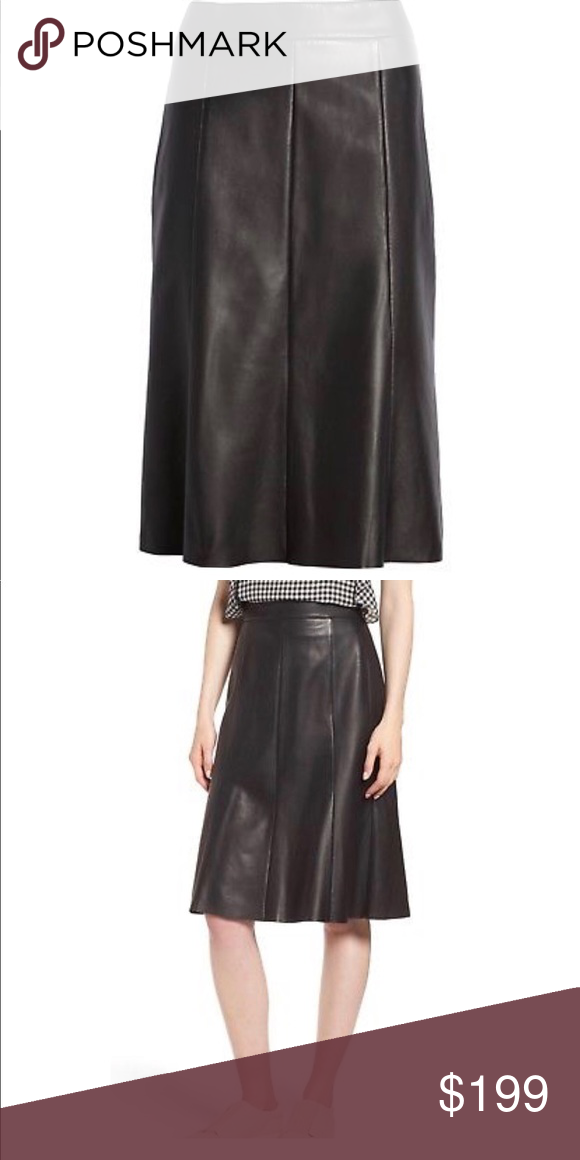 46cf27711 Nordstrom Signature Black Leather Skirt- ChicEwe Take a spin in the  softest, most supple leather skirt ever. 26