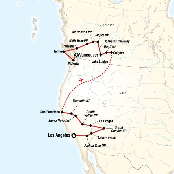 Map Of The Route For West Coast Discovery Us Canada - Grand-canyon-on-a-us-map