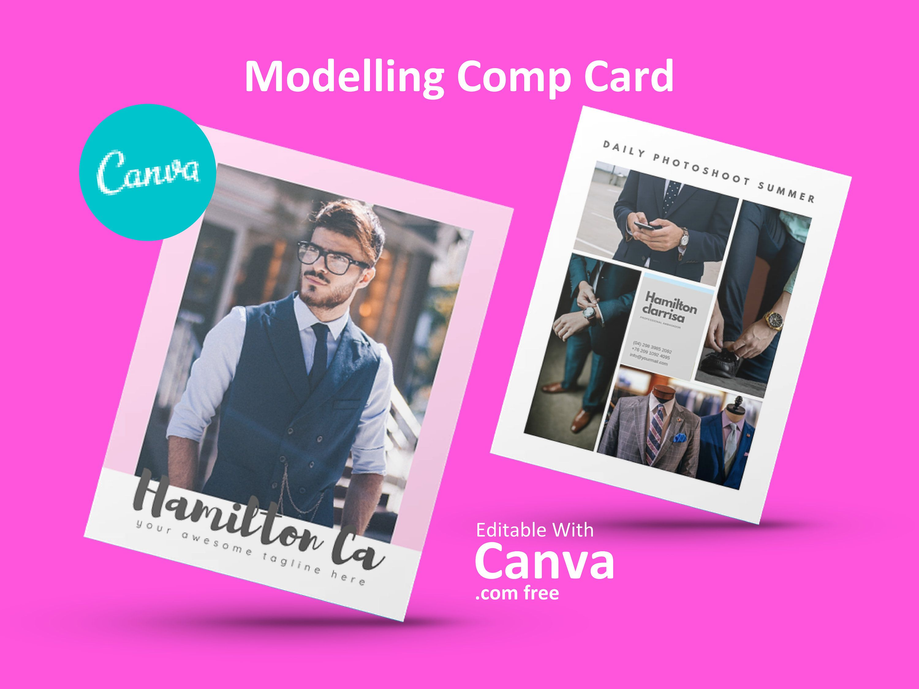 Modeling Comp Card Fashion Model Comp Card Template Fashion Comp Card Canva Template Instant Download Us Letter Photography