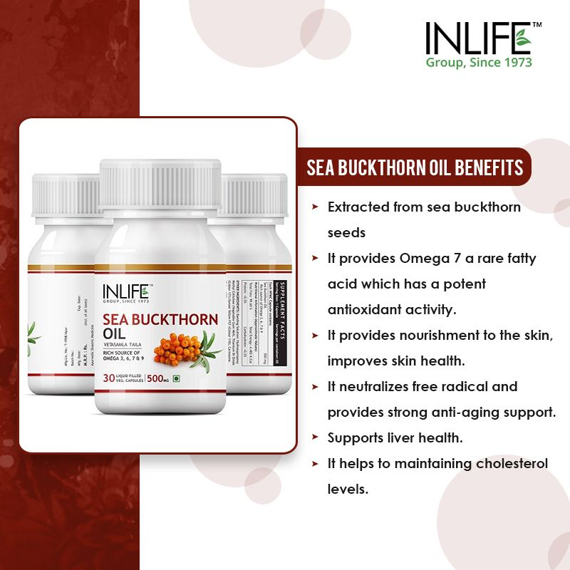 INLIFE™ Sea Buckthorn Oil helps maintain skin and heart health.  Inlifehealthcare.com  #Seabuckthornoil  #Supplements  #Inlifehealthcare