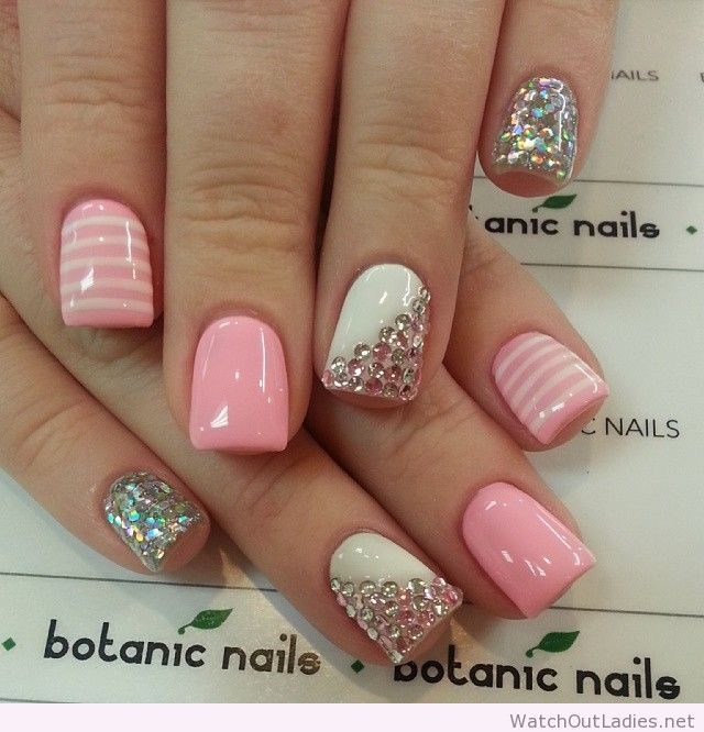 Don't worry if you are a beginner and have no idea about the nail designs.  These pink nail art designs for beginners will help you get ready for your  date - Botanic Nails Light Pink, White And Diamonds Nails Pinterest