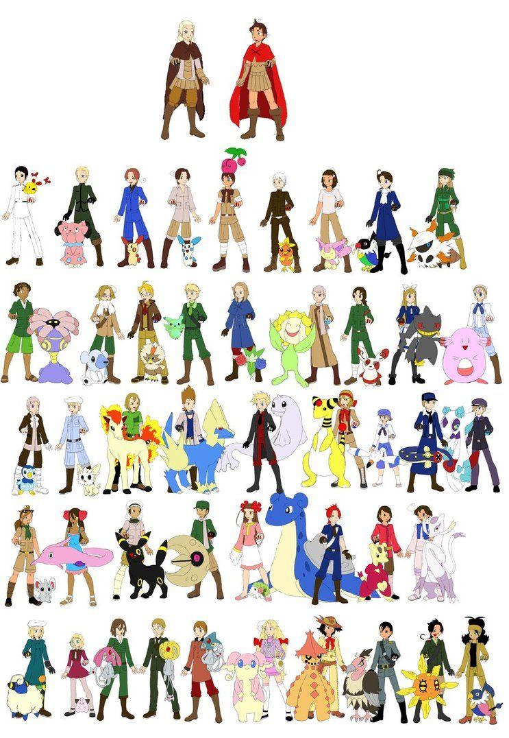 big edit hetalia characters as pokemon trainers by mirai