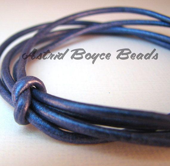 Blue Metallic 2mm Leather Cord  One Yard by AstridBoyceBeads, $1.25