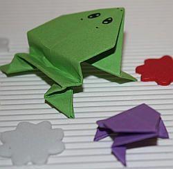 Origami-Frosch Origami frosch Frosch basteln Frosch falten