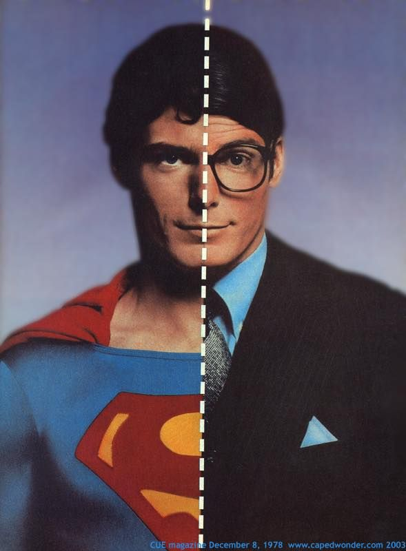 Image result for superman clark kent side by side