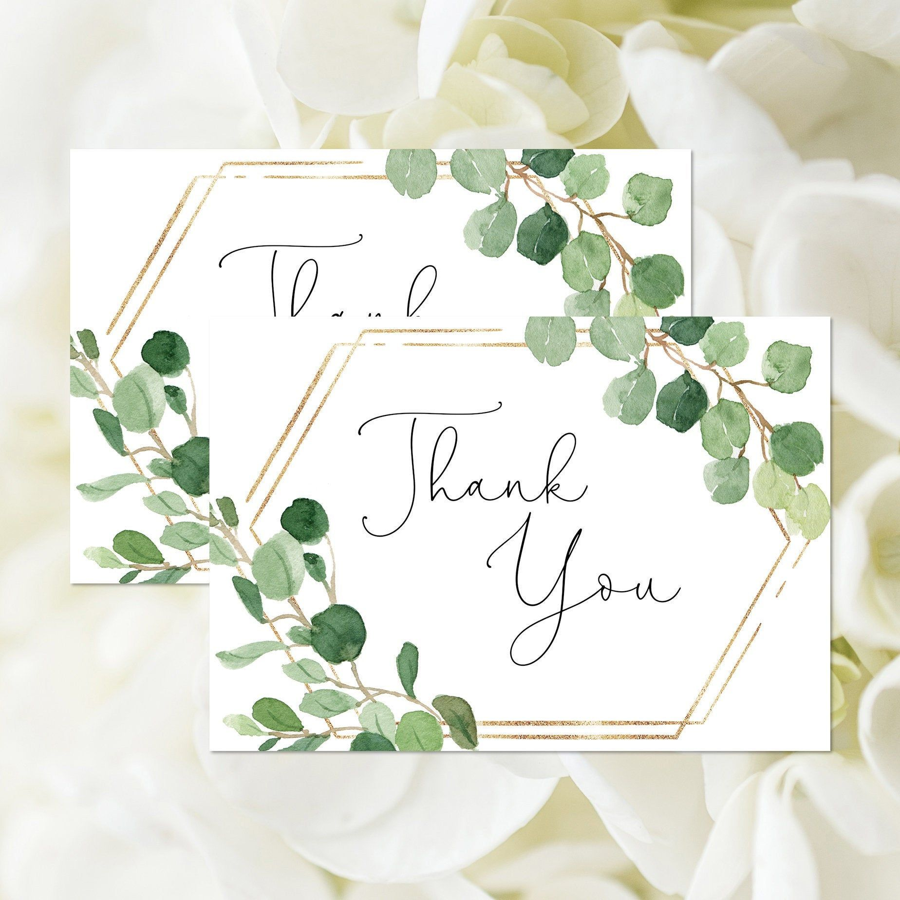 Greenery thank you card printable foliage bridal shower
