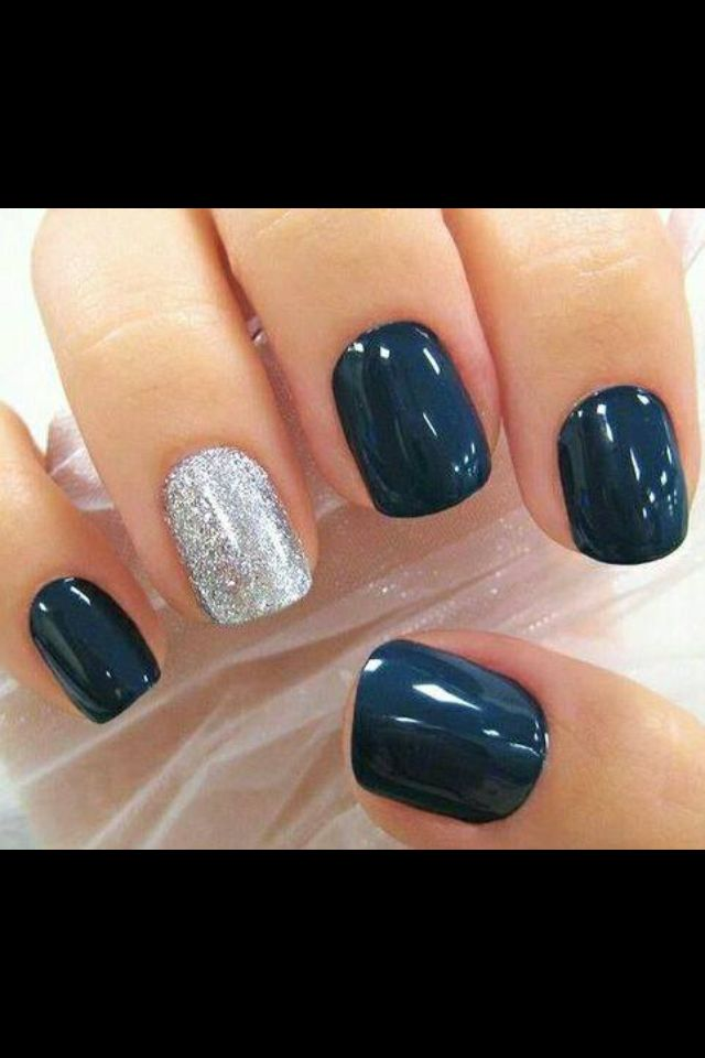 Love Navy And Silver Dark Color Nails Gel Simple