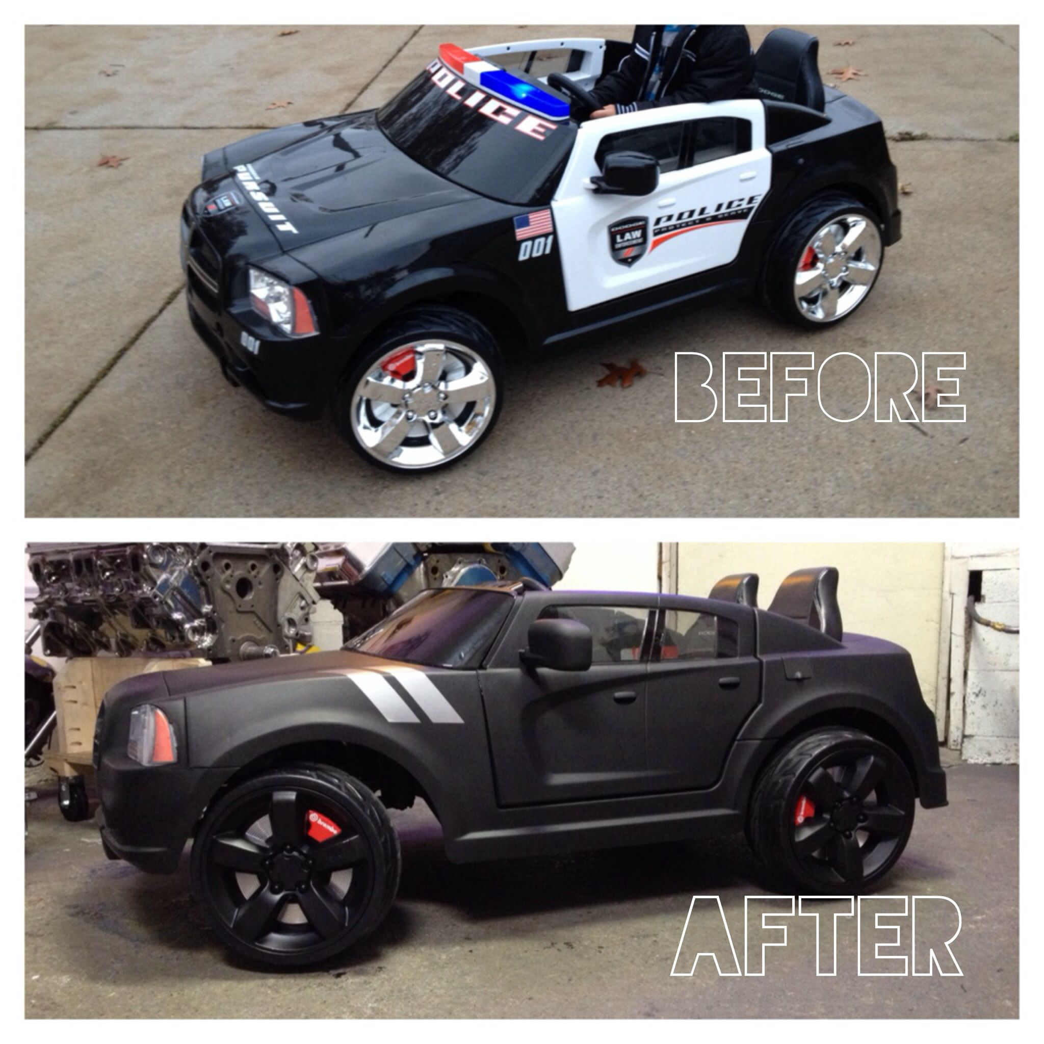 Overhauled my sons Powerwheels Dodge Charger police car into an