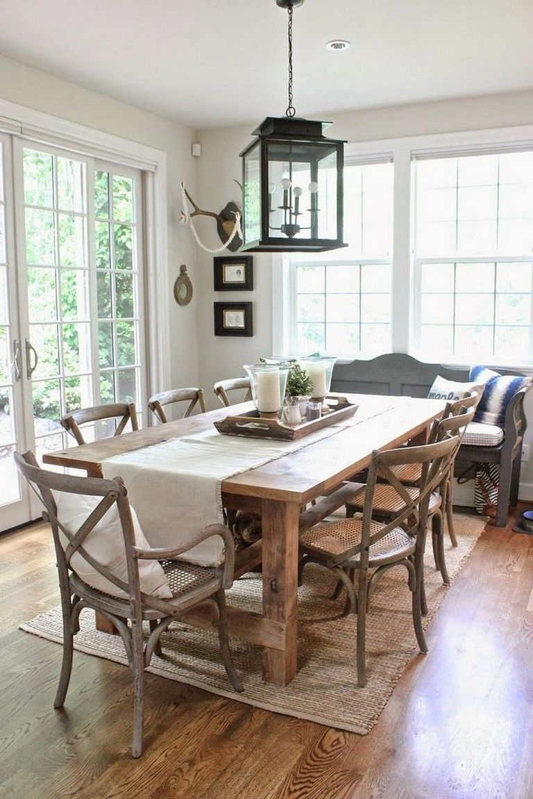 45 Awesome Farmhouse Dining Room Table And Decor Ideas Diningroom Diningr Farmhouse Dining Room Table Dining Room Table Centerpieces Dining Room Decor Rustic