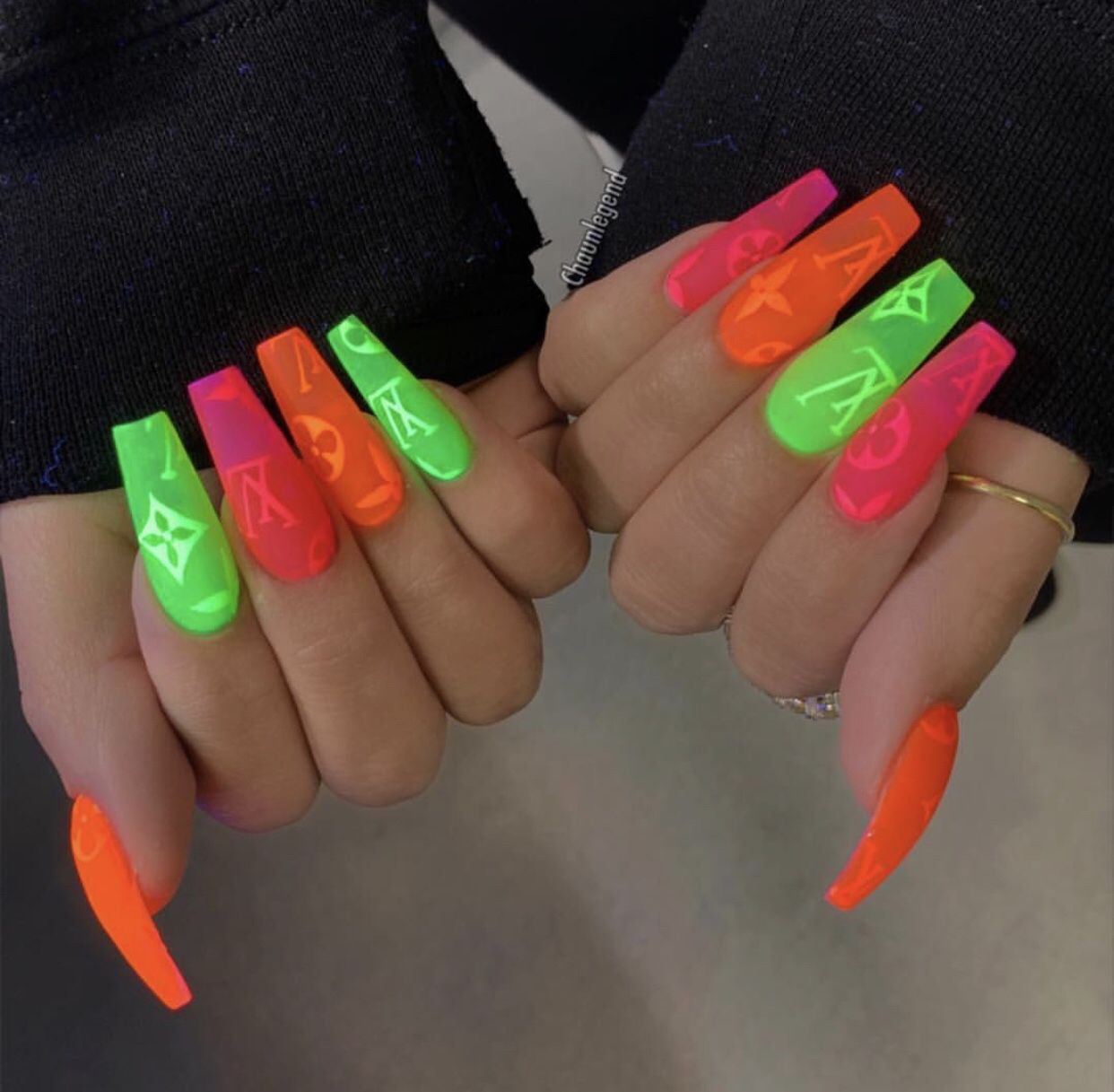 Lv Nail Ideas Multi Colored Neon Neon Acrylic Nails