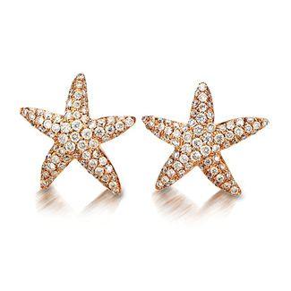 Charming Cherie Dori 18k Rose Gold Diamond Starfish Earrings