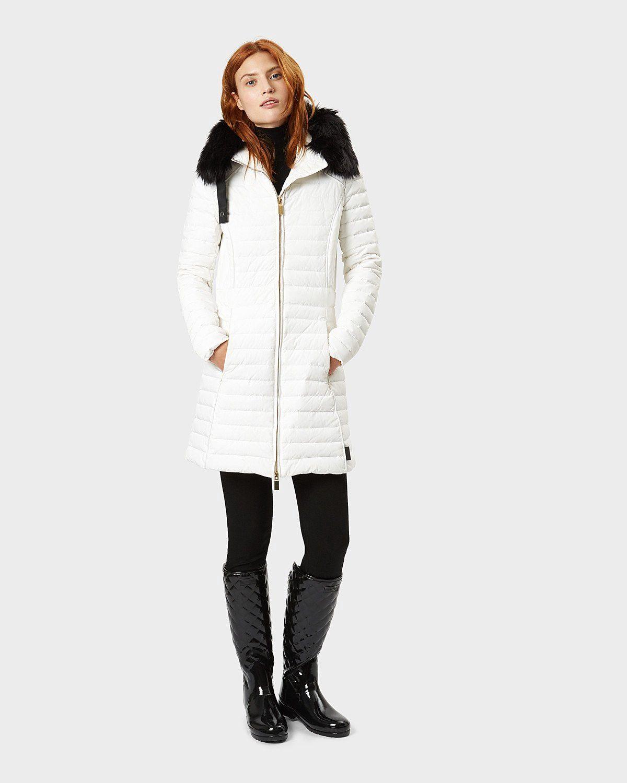 55c833927 Hunter Women's Original Refined Fitted Down Coat - White XS ...