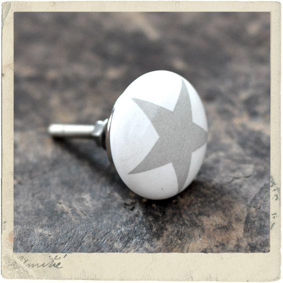 White ceramic knob with grey star, medium size   cixlay   Pinterest ...