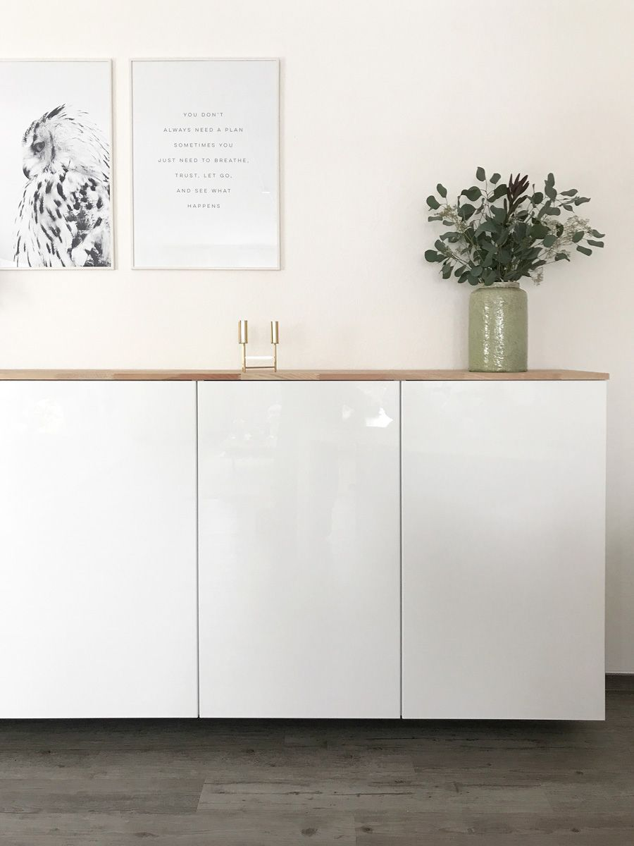 Ikea Hack - Metod kitchen cabinet as a sideboard ⋆ elven white -  Anyone who has already browsed my blog knows that I am a big fan of the Scandinavian style of livin - #Cabinet #decoratingideasforthehome #diykitchenideas #diykitchenprojects #elven #hack #homediycrafts #Ikea #Kitchen #Metod #Sideboard #white