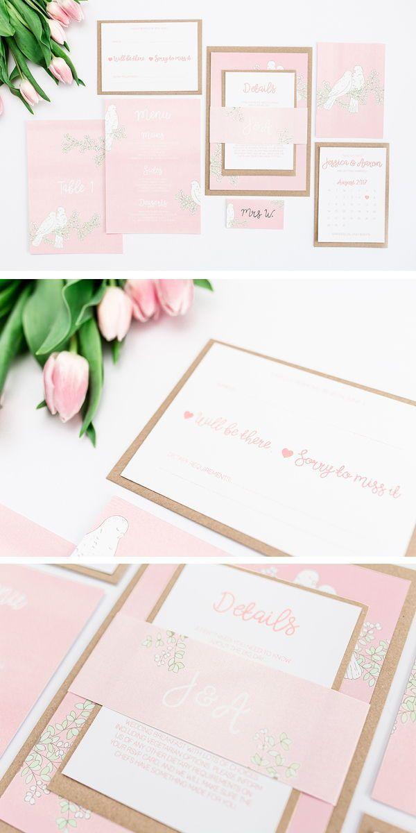 Photo of Pink Love Birds Hochzeit Briefpapier Suite – Bea & Bloom Creat …