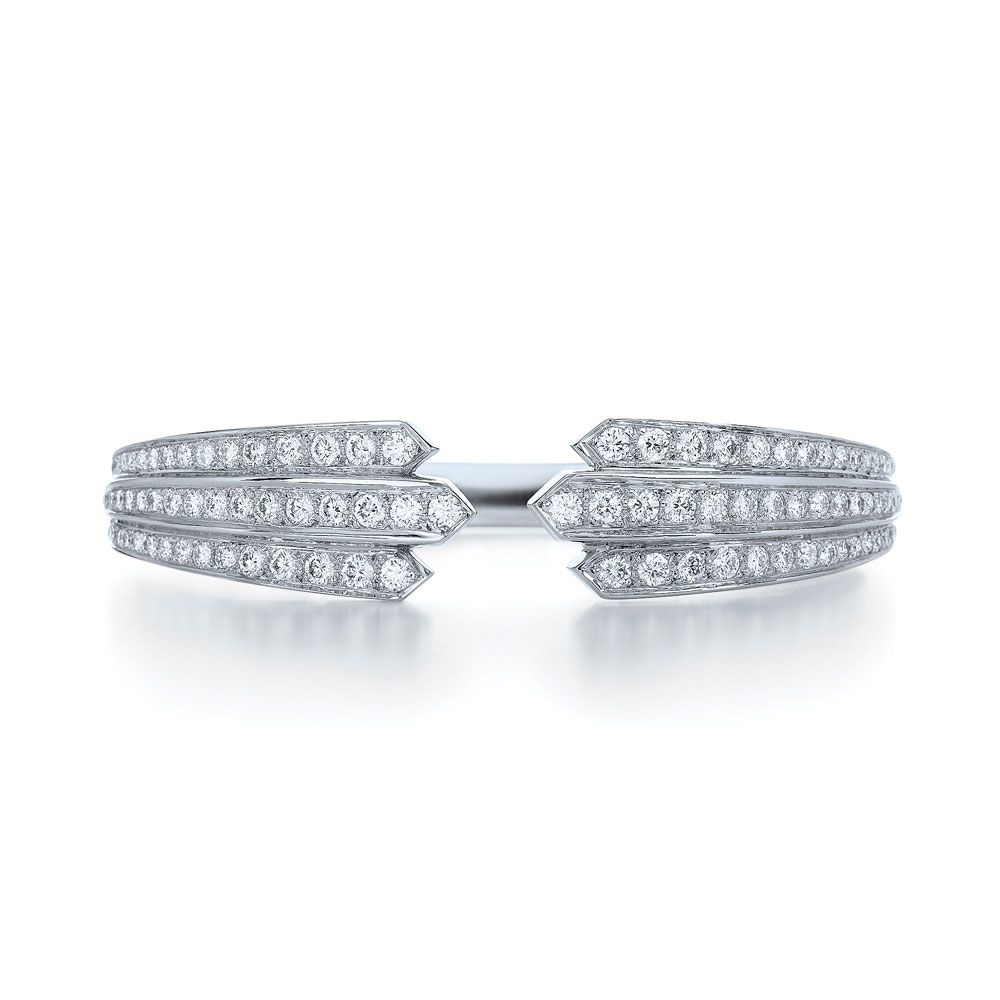 Two way diamond bangle from the cascade collection in k white gold