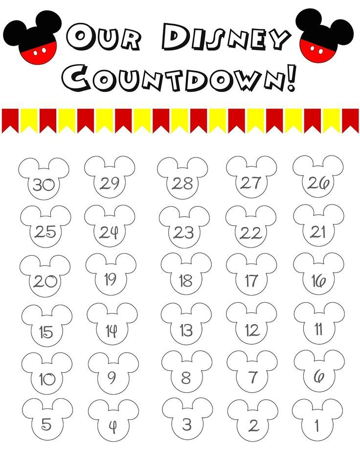 Disney World Countdown Calendar  Free Printable  Countdown