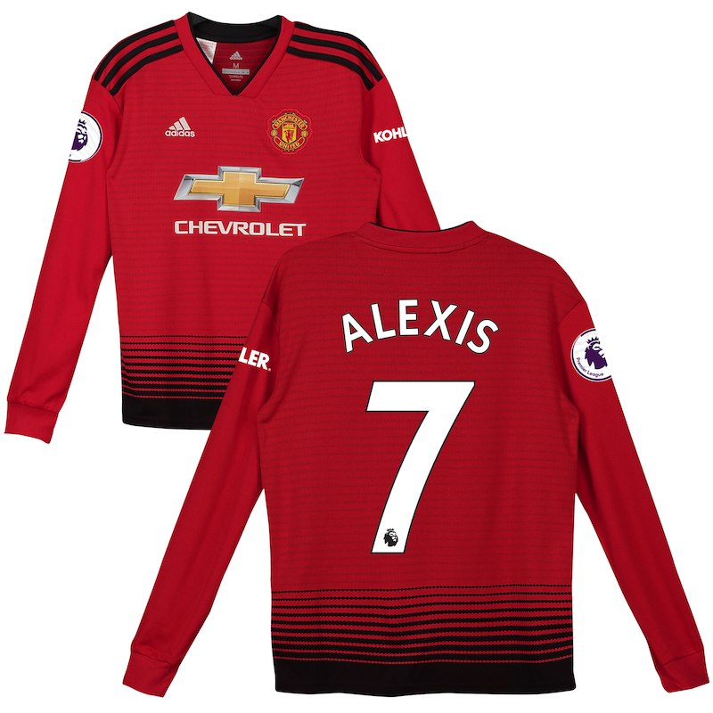 timeless design d95b4 1464d Alexis Sanchez Manchester United adidas Youth 2018/19 Home ...