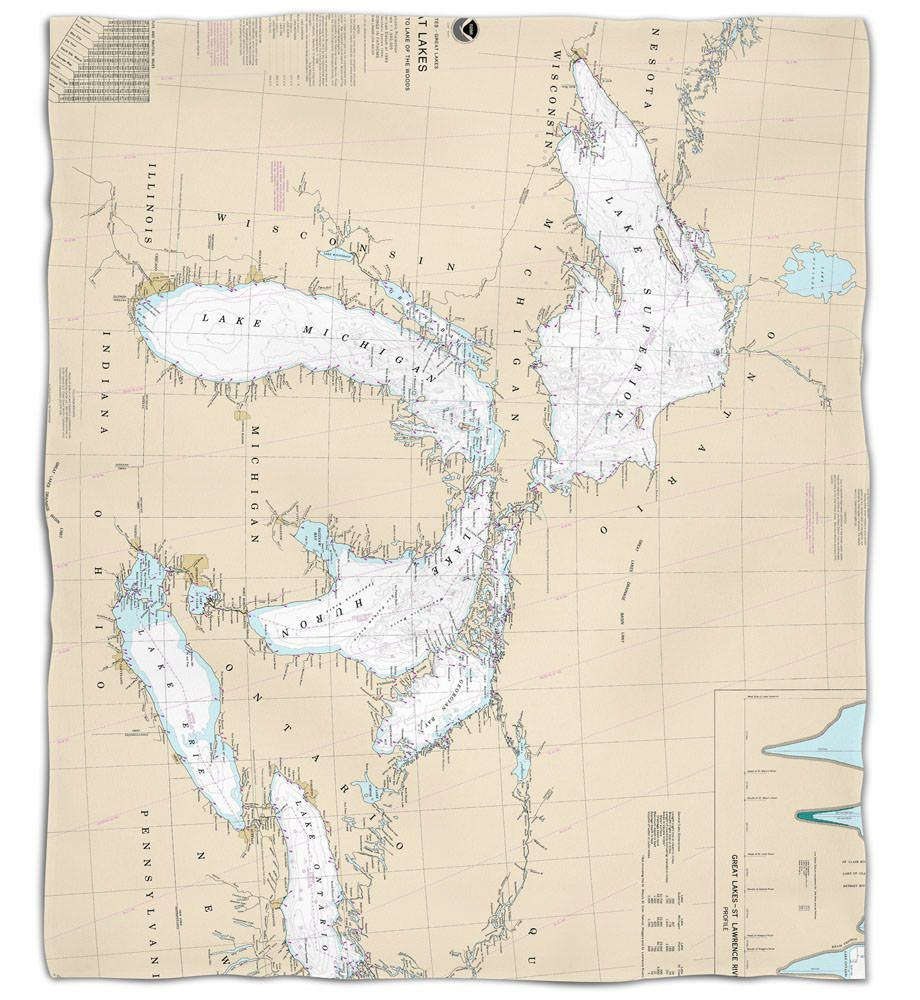 Great Lakes Nautical Chart Silk Touch Throw Blanket Fleece Throw Blanket Nautical Chart Fleece Throw