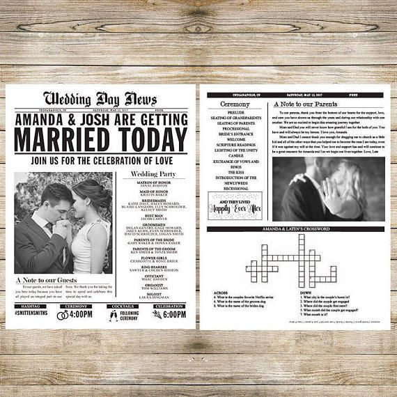 printed newspaper program or invitation fully customizable