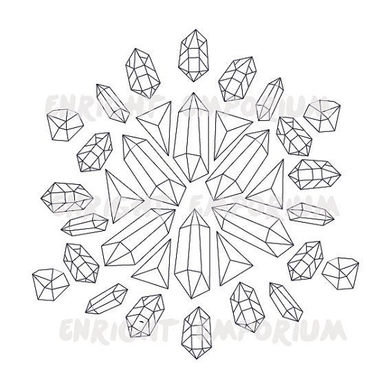 Crystal Mandala Coloring Page Digital Download By Enrightemporium