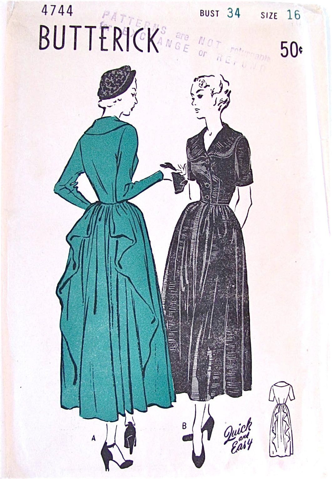 Butterick 4744 (1948) | Vintage Sewing Patterns Community Board ...