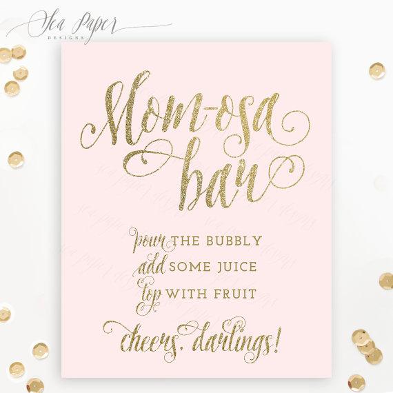 Mom Osa Bar Sign Baby Shower Mimosa Bar Sign Printable Blush Pink Gold Glitter Champagne Bar Bridal Shower Signs Mimosa Bar Sign Bridal Shower Brunch